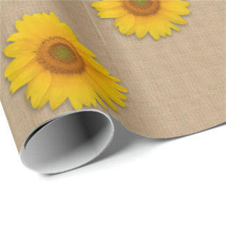 Rustic Burlap and Sunflower Country Wrapping Paper