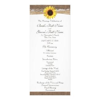 Rustic Burlap and Sunflower Wedding Program Full Color Rack Card