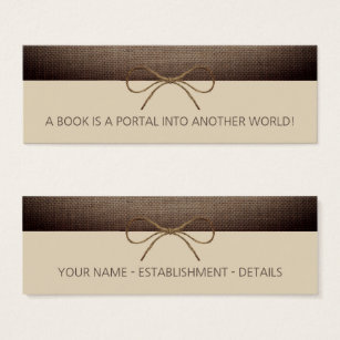 Bookmark business cards templates zazzle rustic burlap and twine bow bookmark mini business card colourmoves