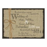 Rustic Burlap and Twine Wedding Personalized Announcement