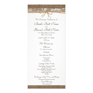 Rustic Burlap and Twine Wedding Program Rack Card
