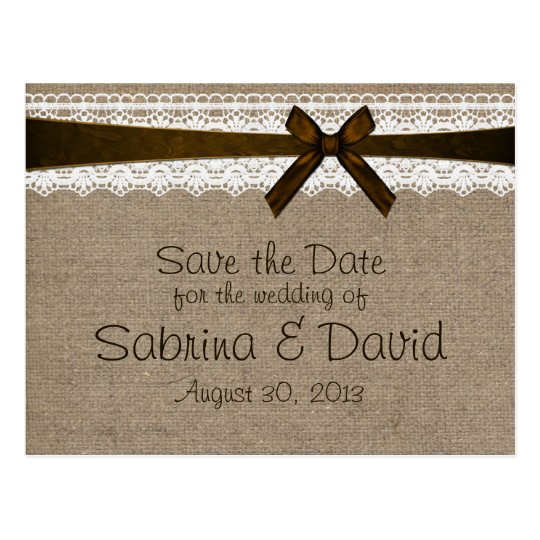 Rustic Burlap and Vintage Lace Save the Date Postcard