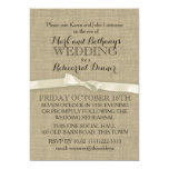 Rustic Burlap and White Bow Rehearsal Dinner 5x7 Paper Invitation Card