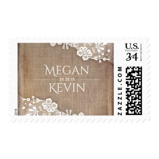 Rustic Burlap and White Lace Vintage Wedding Postage