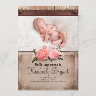 Rustic Burlap and Wood Baby Girl Photo Birth Announcement