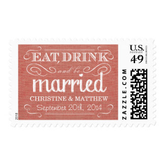 Rustic Burlap Apricot Pink Wedding Postage