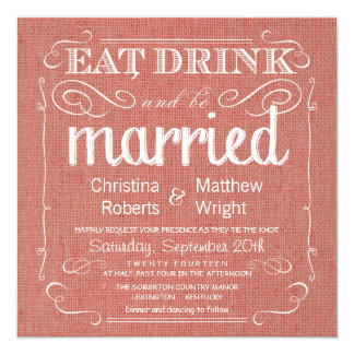 Rustic Burlap Apricot Wedding Invitations