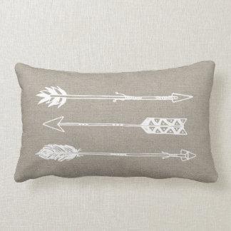 Rustic Burlap Arrows Lumbar Pillow