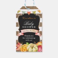 Rustic Burlap Autumn Fall Baby Shower Thank You Gift Tags