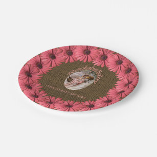 Rustic Burlap Baby Shower | Brown Pink Floral Paper Plate  sc 1 st  Zazzle & Pink And Brown Plates | Zazzle