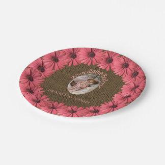 Rustic Burlap Baby Shower | Brown Pink Floral Paper Plate