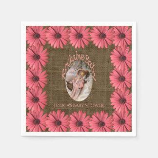 Rustic Burlap Baby Shower | Floral Pink Brown Paper Napkin