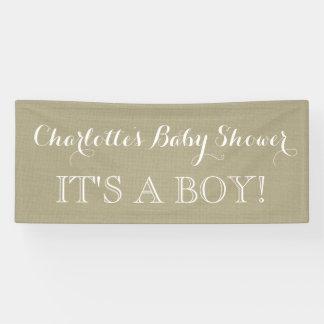 Rustic Burlap Baby Shower Sign Custom Banner