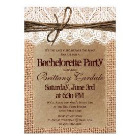 Rustic Burlap Bachelorette Party Invitations Custom Announcement
