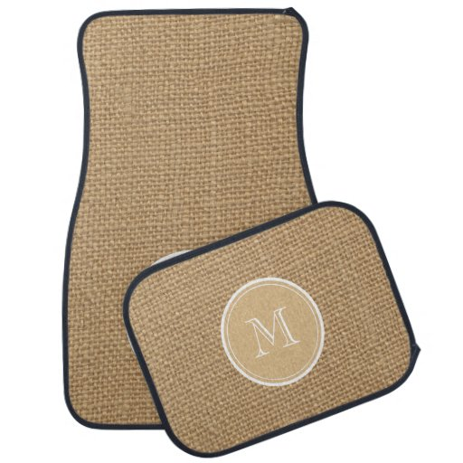 Rustic Burlap Background Monogram Car Floor Mat Zazzle