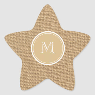 Rustic Burlap Background Monogram Star Sticker