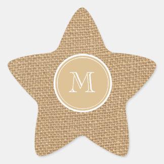 Rustic Burlap Background Monogram Star Sticker