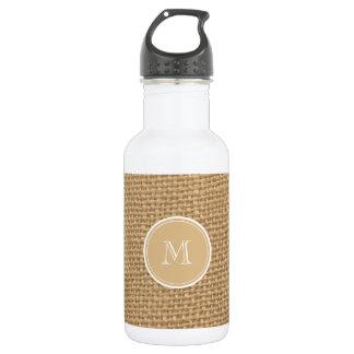 Rustic Burlap Background Monogram Water Bottle