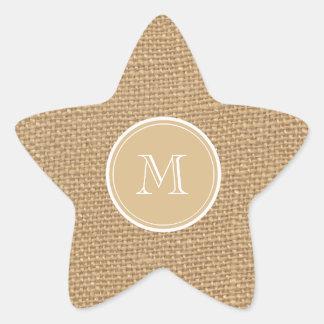 Rustic Burlap Background Monogram Wedding Star Sticker
