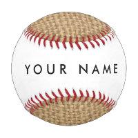 Rustic Burlap Background Printed Baseball