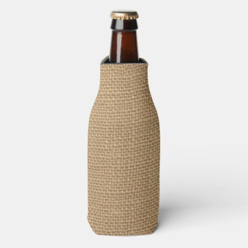 Rustic Burlap Background Printed Bottle Cooler