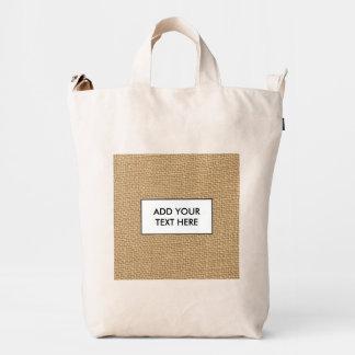 Rustic Burlap Background Printed Duck Bag