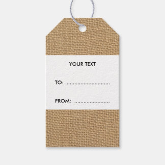 Rustic Burlap Background Printed Gift Tags