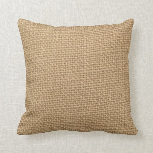 Rustic Burlap Background Printed Throw Pillows Zazzle