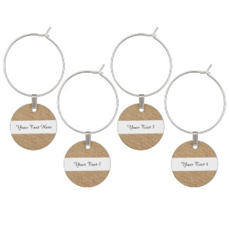 Rustic Burlap Background Printed Wine Glass Charm