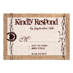 Rustic Burlap Barbed Wire Horseshoe RSVP Cards