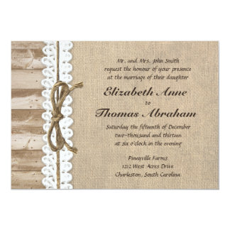 Rustic Burlap Barn Wood Twine Wedding Invitations