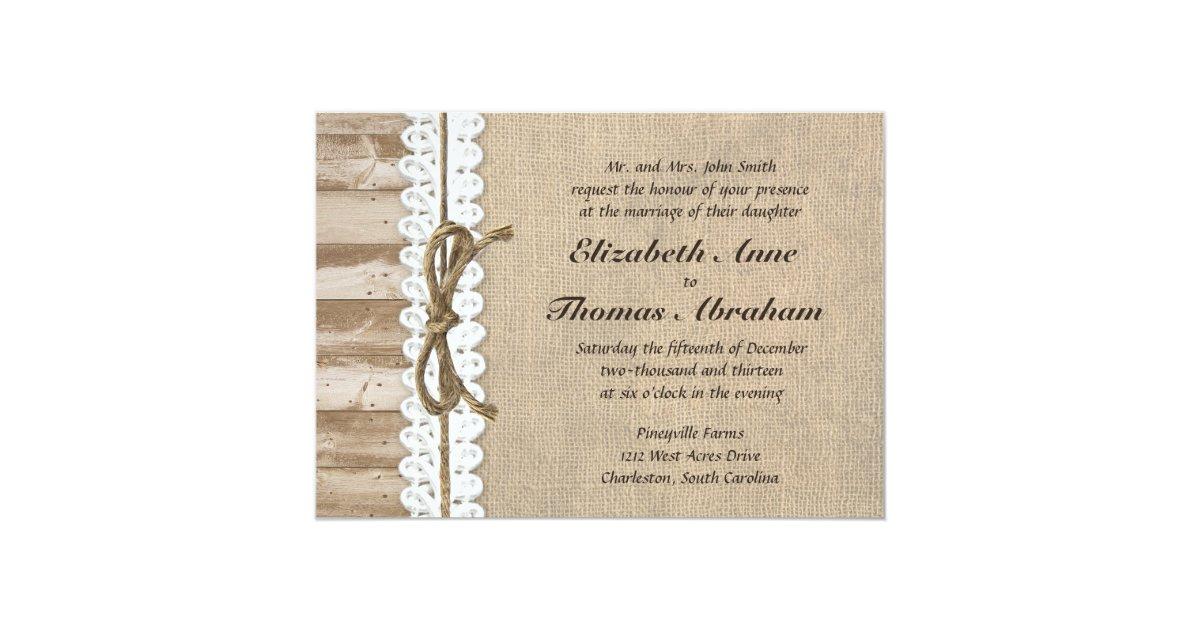 Rustic Burlap Barn Wood Twine Wedding Invitations   Zazzle.com