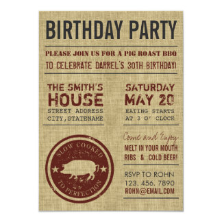 Rustic Burlap BBQ Birthday Party Invitations