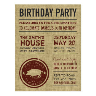 Rustic Burlap BBQ Birthday Party Postcards
