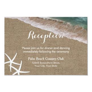 Rustic Burlap Beach Starfish Wedding Reception 3.5x5 Paper Invitation Card