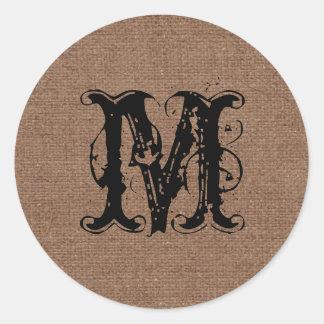 Rustic Burlap Black Monogram - Shabby Chic Classic Round Sticker