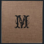 "Rustic Burlap Black Monogram - Shabby Chic Cloth Napkin<br><div class=""desc"">A rustic monogram against a dark burlap pattern. Sweet country style!</div>"