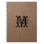 Rustic Burlap Black Monogram - Shabby Chic Notebook