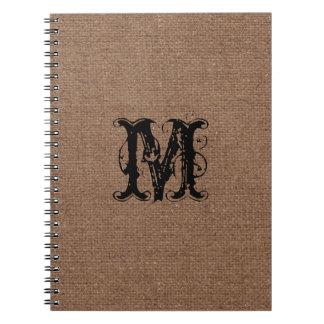Rustic Burlap Black Monogram - Shabby Chic Spiral Notebook