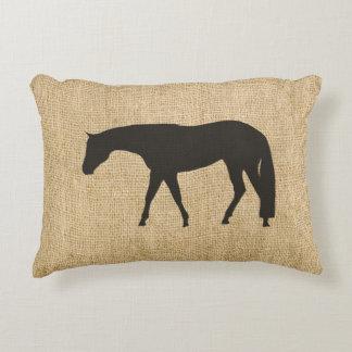 Rustic Burlap Black Western Pleasure Horse Decorative Pillow