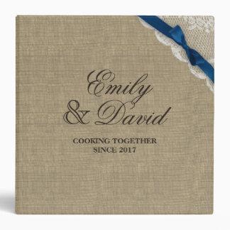 Rustic Burlap Bow and Lace Look Printed Recipe Binder