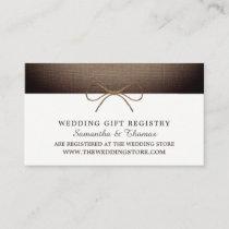 Rustic Burlap Bow, Gift Registry Enclosure Card
