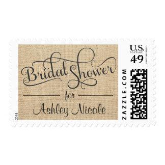 Rustic Burlap Bridal Shower Fancy Typography Postage