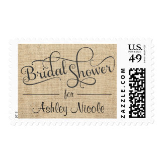 Rustic Burlap Bridal Shower Fancy Typography Postage