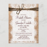 """Rustic Burlap Bridal Shower Invitation Postcard<br><div class=""""desc"""">Use these to mail out invitations for country style bridal shower.</div>"""