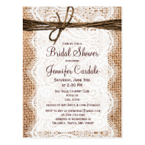 Rustic Burlap Bridal Shower Invitation Postcard
