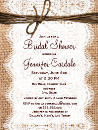 Invitation postcards zazzle rustic burlap bridal shower invitation postcard stopboris