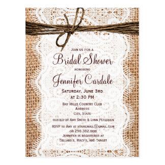 Rustic Burlap Bridal Shower Invitation Postcard