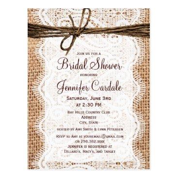 CustomWeddingSets Rustic Burlap Bridal Shower Invitation Postcard