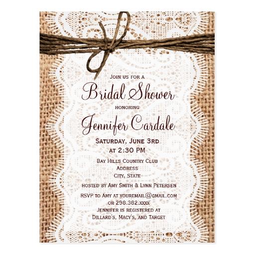 rustic burlap bridal shower invitation postcard zazzle